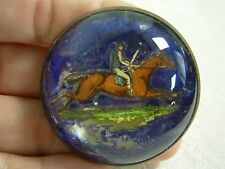 ANTIQ GLASS DOME BRASS EQUESTRIAN HORSE JUMPING BRIDLE BUTTON ROSETTE BROOCH PIN