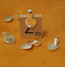 50 x Heart shaped small glue-on bails bail jewellery supplies Silver Color