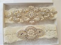 Wedding Garter Set - CRYSTAL PEARL IVORY LACE Wedding Garter Set