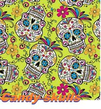 "19X393"" Water Transfer Printing Film Hydrographic Candy skulls Pattern YELLOW"