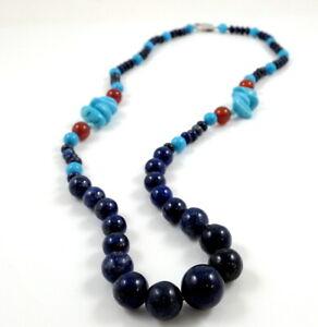 Lapis Lazuli, Turquoise & Carnelian Beaded Necklace 23''