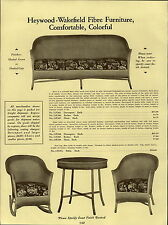 1937 PAPER AD Heywood Wakefield Wicker Fibre Sofa Couch Rocker Chair Fernery