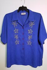 MIRRORS Women's Blue Shirt Embroidered Gold Shells Short Sleeves Size 20