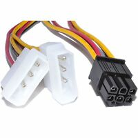 NEW 6 Pin PCI-E Graphics Card to 2 x Molex IDE Y cable Power Adapter Cable Wire