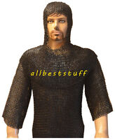 Chainmail Shirt Black Riveted Hauberk & Chain Mail Hood Set Flat Washer