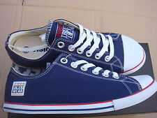 Unisex Navy/white Lona Clásico Baja Vision Street Wear formadores Uk 6.5