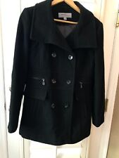 Marc New York Black Wool Double Breasted Peacoat Coat Women's Size 12