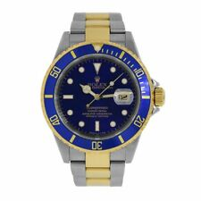 Rolex Submariner Stainless Steel and Gold Date Blue Diver 40MM Watch 16613