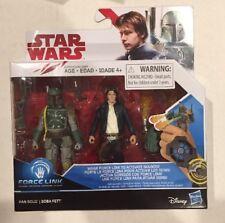 """Star Wars THE LAST JEDI  HAN SOLO BOBA FETT 2-pack 3.75"""" Figure Force Link"""