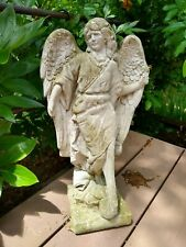 Beautiful Vintage Cement Standing Angel Garden Statue - Great Patina