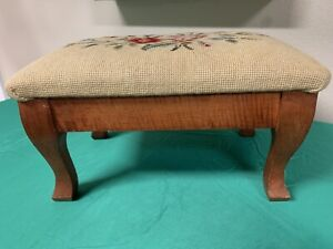 Vintage Floral Tapestry Foot Stool Ottoman  wood wooden Needlepoint