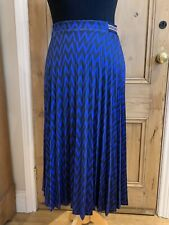M&S COLLECTION Blue & Black Pleated Midi Skirt Zig Zag Size UK 8 NEW RRP £25