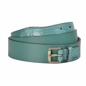 Gucci Men's Blue Croc Leather Belt Sz 34 36 38 40 42