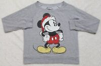 Disney Mickey Mouse Graphic Sweatshirt Gray Small Long Sleeve Top Cotton Poly