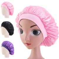 Elastic Kids Girl Satin Bonnet Cap Night Sleep Hair Head Cover Wide Band Hat New