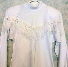 Vtg Western WHITE Long Sleeve COWBOY Fringe DRESS Cotton Shoulder Pads by HEARTS