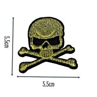 Gold Skull and Crossbones Iron On Patch Motif Applique Badge Quality Patch P159