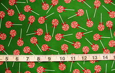 "100% Cotton Fabric ""Gingerbread Christmas"" by RJR Fabrc, Green w/Lollipops"