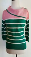 REVIEW Pink/Green/White Stretch Knit Top Size 10