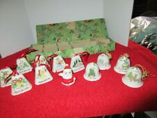 Vintage Japan Porcelain Christmas Bells w/Box Holiday Decorations