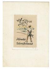 Colorierte aguafuerte ex libris albrecht schmidt-Ewald 1948 Gotha Carl Lang