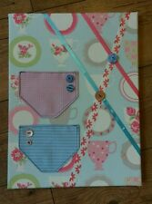 Handmade message board, notice, memo, kitchen, office, blue pink ribbon, pockets
