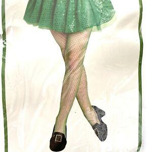 Women's Green Fishnet Pantyhose. One Size. NEW
