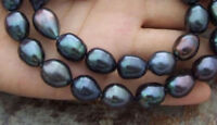 8-9MM NATURAL SOUTH SEA FRESHWATER BAROQUE BLACK PEARL NECKLACE 18''