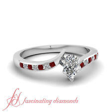 1/2 Ct Channel Set Round Diamond And Ruby Engagement Ring With Pear Shape Center