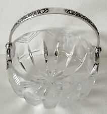 Antique RUSSIA USSR 875 Sterling Silver Handle Crystal CUT GLASS Sm Bowl Basket