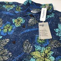 Tommy Bahama Batiki Beach Kingdom Blue Men's Silk Blend Floral Hawaiian Shirt