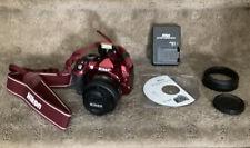 Nikon D3100 14.2MP Digital SLR Camera Red w/ Nikkor 35mm AF-S DX Lens , All Accs