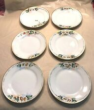 Hand Painted Nippon Plates Vintage Set of 6 White Flowers & Greenery Gold Rims
