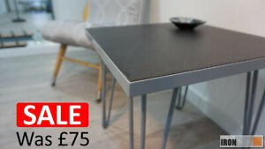 Grey Steel and Tile industrial hairpin style table by Irontile - ON SALE