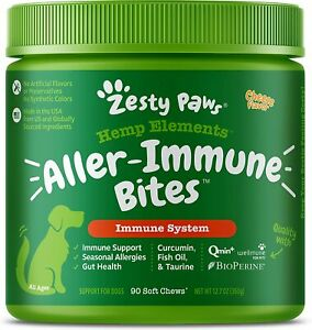 Zesty Paws Allergy Immune Soft Chews for Dogs - with Curcumin, Cod Liver...