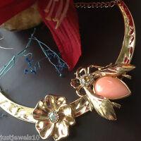 Art Deco Necklace Bib Dull Gold Collar Choker Unusual vintage Style Jewellery N1