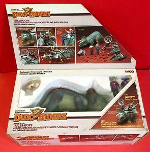 Vintage Tyco Dino Riders Triceratops Dinosaur w/ Action Figures 1987 Box WORKING