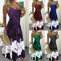 Womens Boho Summer Holiday Long Sling Dress Ladies Party Maxi Strappy Sundress