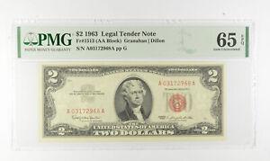 1963 $2 FR1513 (AA Block) Red Seal Graded PMG - 65 EPQ Legal Tender *783