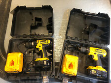 2 Dewalt 18 volt Cordless Drills With Chargers Cases and Batteries