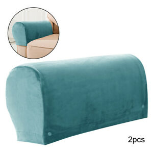 Velvet Sofa Armrest Covers Solid Soft Couch Slipcovers Washable Detachable