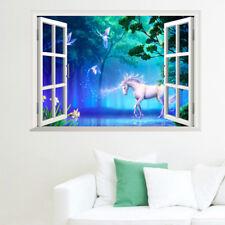 3D Unicorn Fantasy Window View Decal WALL STICKER Legendary Animals Home Decor