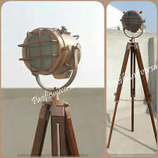 Handmade Antique Copper Spot Searchlight Nautical Tripod Stand Studio Floor Lamp