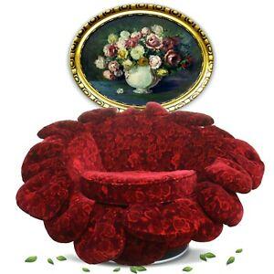 BRETZ Schaukelstuhl Rosenstoff Sessel Wipp- Drehstuhl ROSY