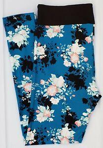 OS LuLaRoe One Size Leggings Roses Flowers on Blue & Black NWT F26