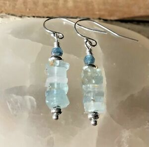 NEW: Sundance Catalog inspired gemstone tier drop earrings: aquamarine & apatite