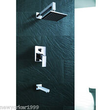 Wall Mounted Modern Chrome Rain Shower Faucet Single Handle Tub And Shower US