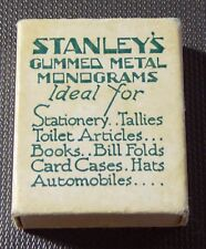 Vintage Box of Stanley's Gummed Metal Monograms