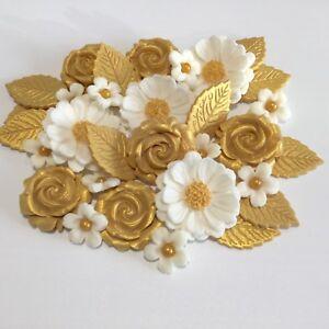 GOLDEN WEDDING BOUQUET edible sugarpaste blossom flowers cake decorations