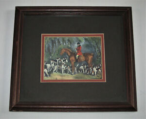 Vintage Decorative Framed and Matted Miniature Engish Fox Hunting Print